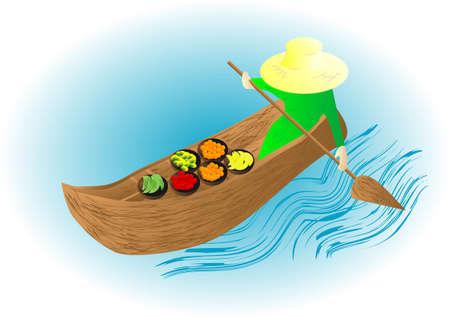 floating market: boat market with fruit  10 EPS
