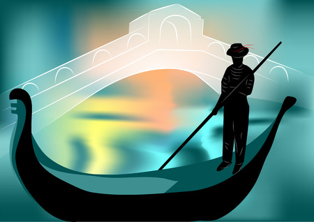 gondolier: gondolier in the evening city  10 EPS Illustration