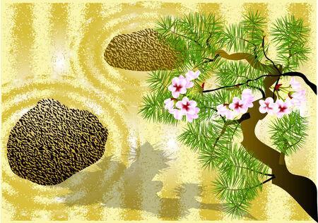 japanese garden: japanese garden with a stones  10 EPS Illustration