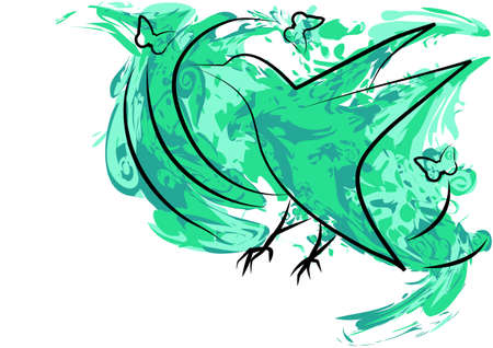 buttefly: bird  abstract background with bird and buttefly Illustration