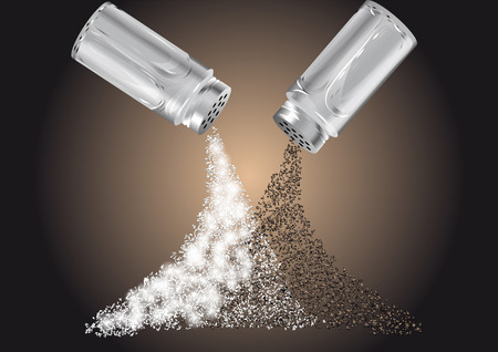 salt and pepper scattered on the table