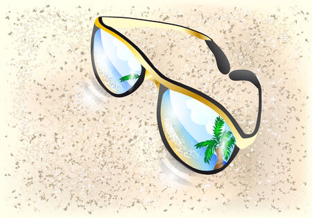 sunglasses reflection: sunglasses with reflection of sea  10 EPS