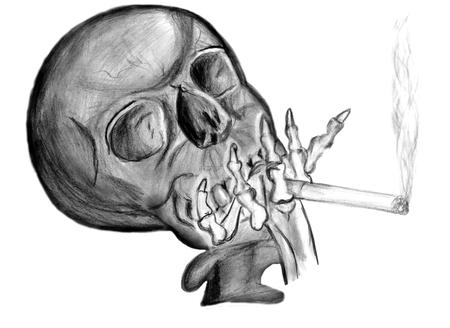 beenderige: roken van sigaretten schedel met een sigaret in zijn benige de hand