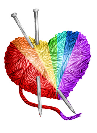 knit  clew in the form of heart and knitting needles