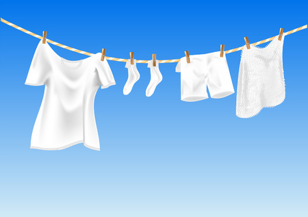 drying clothes against a blue sky  , using mesh gradient Vettoriali