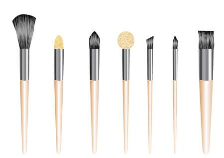 make up brush: pinceles de maquillaje aisladas sobre fondo blanco
