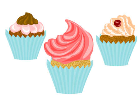 cupcakes isolated: cupcakes isolated on white background   Illustration