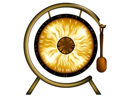 Gong aislado en un fondo blanco Foto de archivo - 27255077