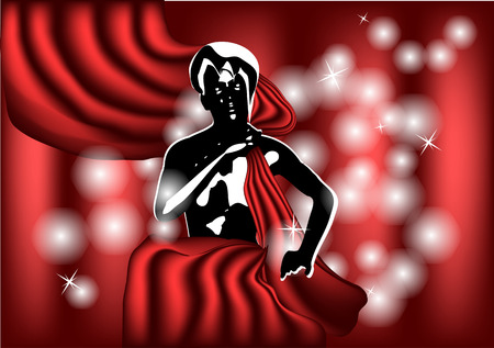 woman behind: woman behind the theater curtain Illustration