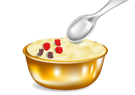 vanilla pudding: custard with spoon isolated on white background