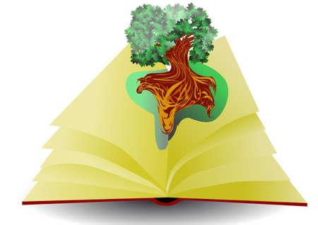 educazione ambientale: libro di educazione ambientale e albero isolato su sfondo bianco