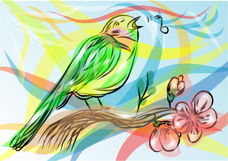 songbird  abstract bird on a multicolor background