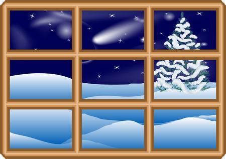frosted window: winter window  frosted window with christmas tree Illustration