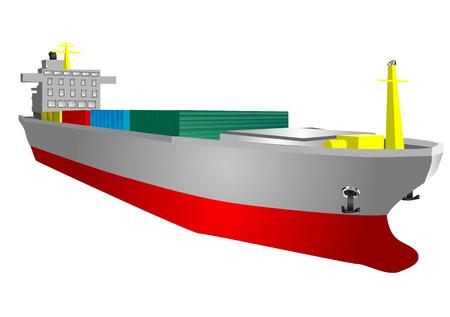はしけ: 白い背景で隔離の貨物船  イラスト・ベクター素材