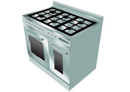 cuisinière isolé sur fond blanc Vecteurs