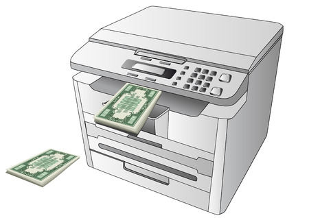 counterfeit: printing money  printer and abstract money on white background