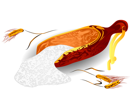 bran: wheat and flour on a white background Illustration