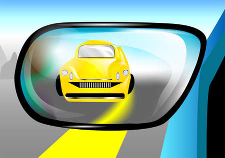 rear view mirror: abstract car in the rear view mirror