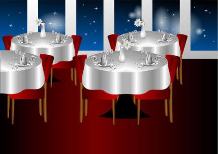 night club interior: restaurant night indoors with a stars sky Illustration