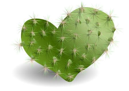 白い背景で心臓の形のサボテン