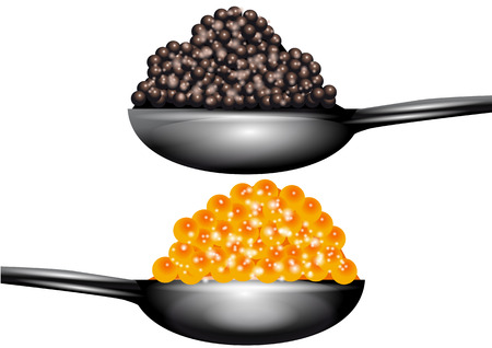 red and black caviar isolated on a white background