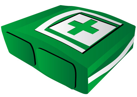 kit of first aid isolated on white background Vector