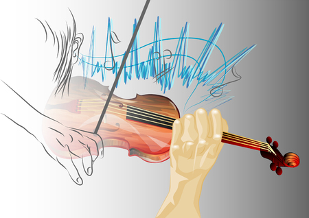 hearing concept  musician with violin and notes Vector