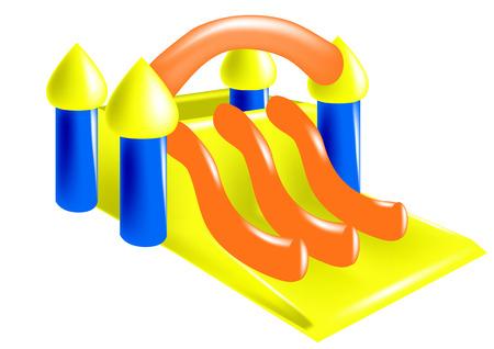 �jumping: castillo inflable aislado en un blanco backgeound