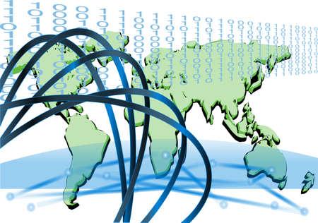 interconnected: la tecnolog�a de fondo abstracto interconectado con mapa del mundo Vectores
