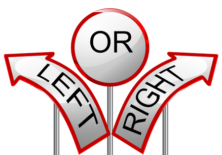 hesitation: left or right  sign isolated on white