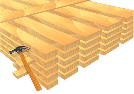 lumber: lumber  stack of new wooden studs on white Illustration