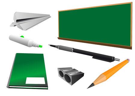 흰색 배경에 고립 된 학교 개체