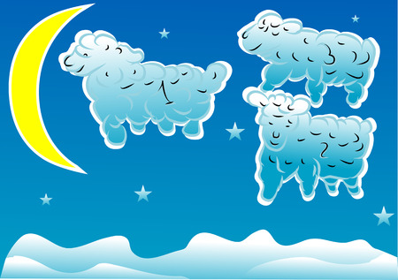 sheeps in the night sky with stars and moon