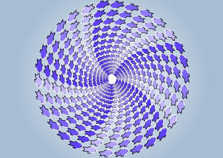 shoal: shoal of fish  optical illusion of moviment on gray background Illustration