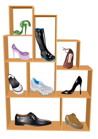 boutique display: shoe store  wooden shelf with various shoes