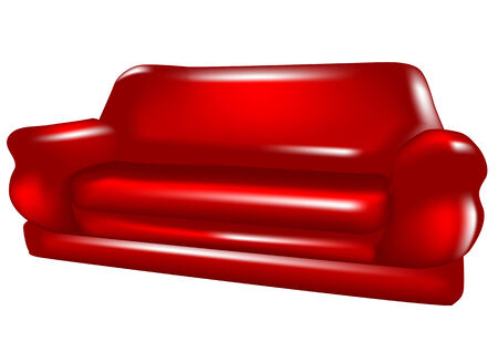 red sofa: red sofa isolated on a white background Illustration