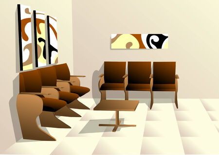 waiting room: empty waiting room with pictures ahd chairs Illustration