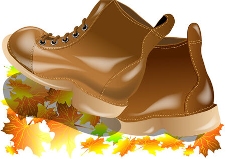 walking boots: walking boots with autumn leaves isolated on white Illustration