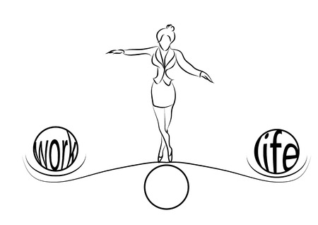 at work: woman balance of life  woman weighs life and work balance decision on choice scale  Illustration