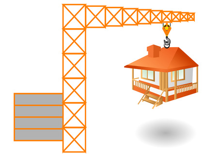 erect: construction  abstract crane and house isolated on white
