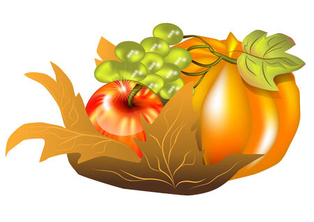 fall harvest: fall harvest  apple, pumkin ang grap on autumn leaf Illustration
