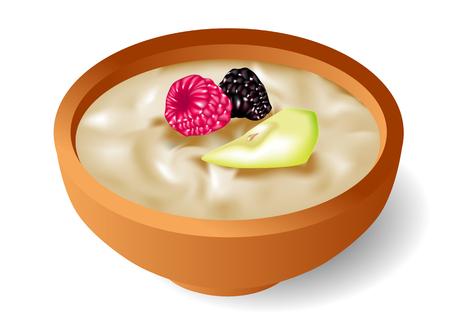 흰색 배경에 열매와 맛있는 오트밀, 일러스트