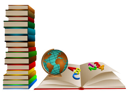 school books with globe and opening book with number