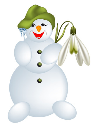 snow man with flower isolated on white Vector