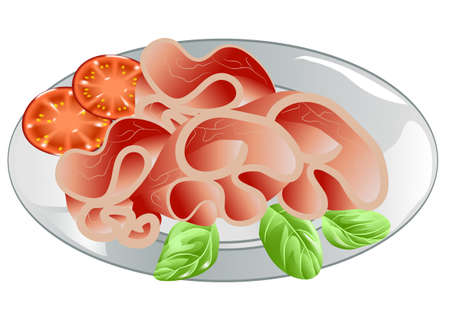 sliced ham on plate with tomato on white background