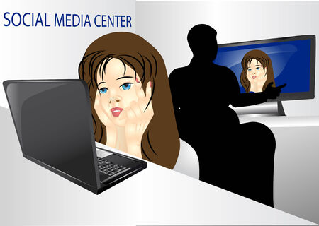 call centre girl: social media  girl and boy chatting in social networks Illustration