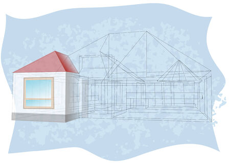 architecture blueprint  abstract sketch of modern house