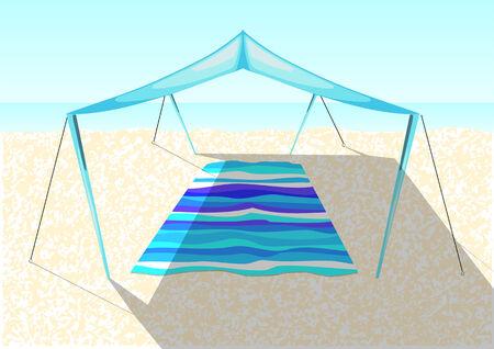 pavilion: beach tent on a sand of sea coast