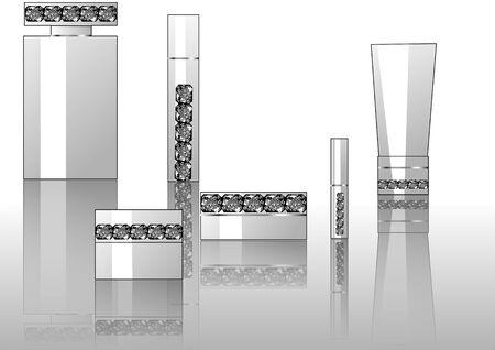 cremas faciales: fondo con perfumes decoradas de joyas