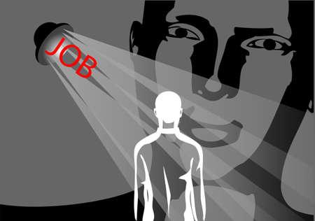 job interview: job interview  two men on dark background Illustration